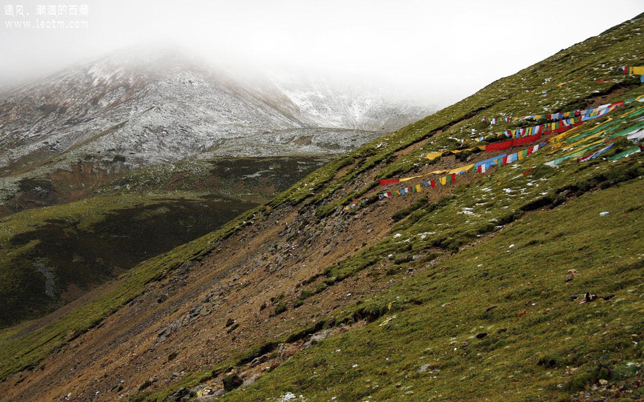 远山的雪。当天天气很差还下着雨加雪,回程的时候天晴了,而所有这些雪也都没有了。