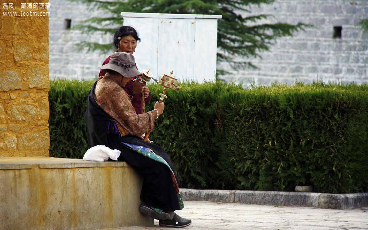 布宫广场上喂鸽子的老奶奶。