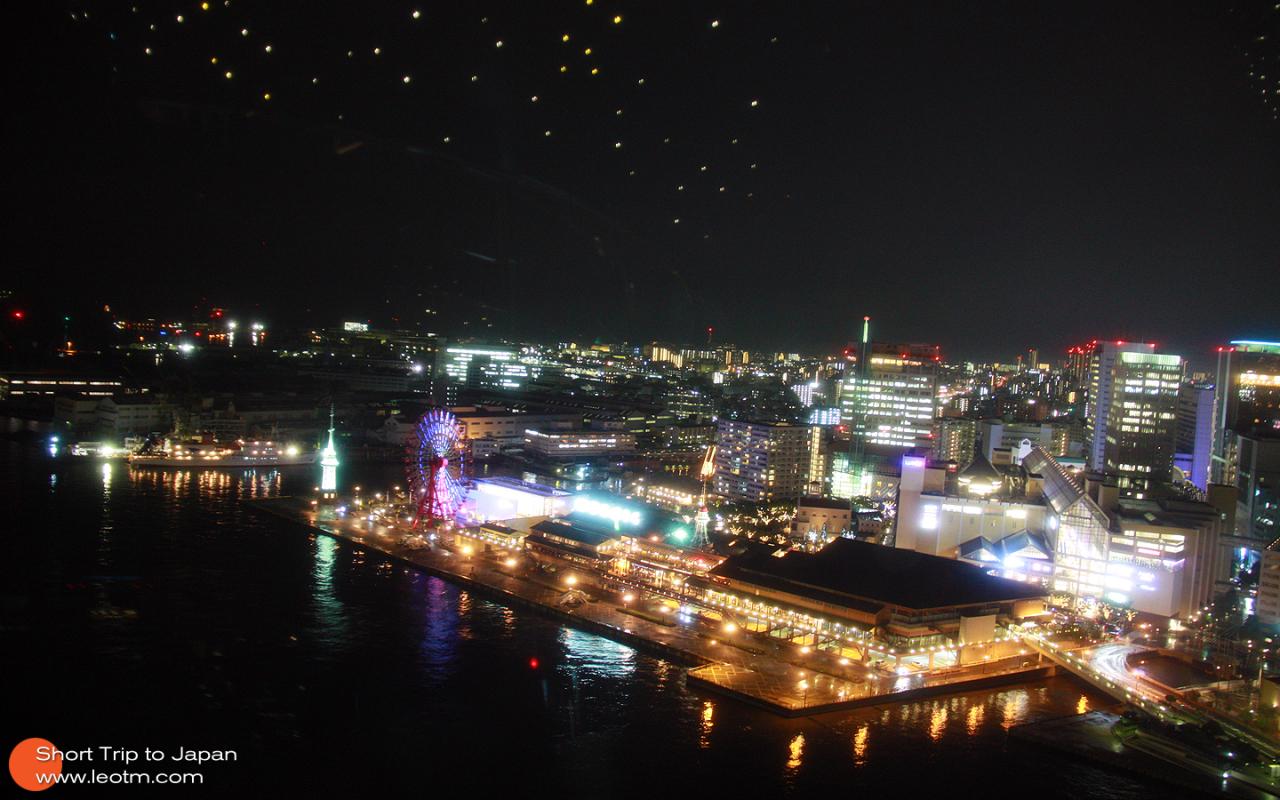 神户港夜景,由于限电,8点以后景观灯会陆续关闭。