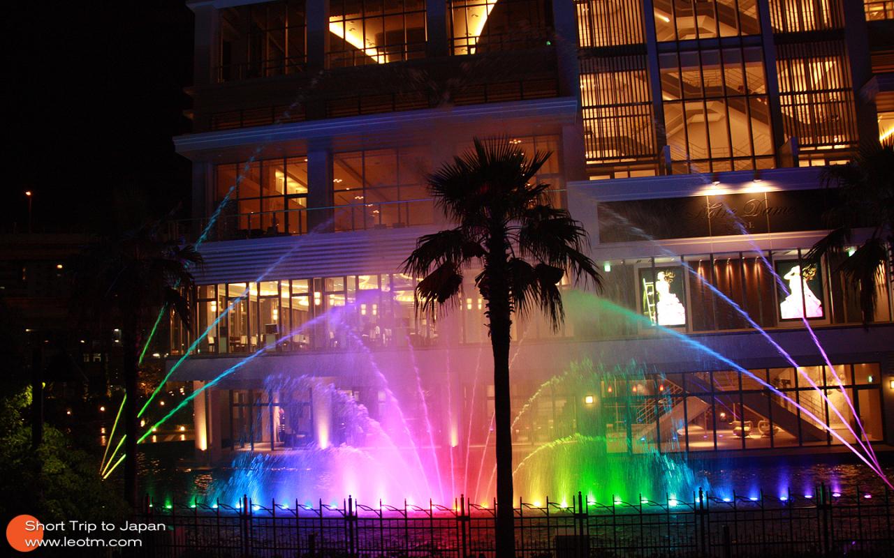 酒店前面的音乐喷泉